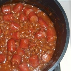Wieners and Beans Recipe - This is simple and tastes great!  It makes a nice accompaniment to a main dish at lunch, dinner or picnic.