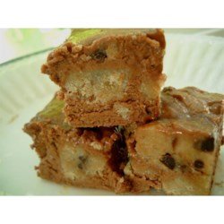 Chocolate Chip Cookie Dough Fudge Recipe - A fudgy no-bake candy has chunks of cookie dough-like pieces and chocolate chips.