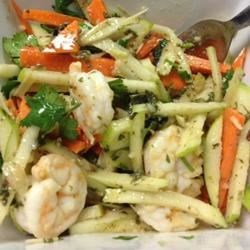 Green Apple, Jicama, and Prawn Salad with Mint, Lemongrass, and Dijon Dressing Recipe - Thin strips of green apple, jicama, and carrots are tossed with shrimp and a bright, minty, Asian-inspired dressing made with fresh lemongrass and garlic.