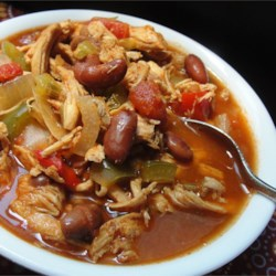 Amateur's Light Breeze Chicken Chili Recipe - A tomato based chicken chili with extra cumin. I used to make this stuff during college because there is enough of it to last me a long time. This recipe is VERY hot.