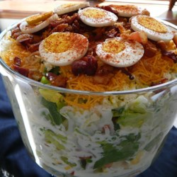 Twenty Four Hour Layered Salad Recipe - Amazing salad with a creamy sour cream dressing.