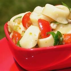 Spinach and Tortellini Salad Recipe - This salad is a snap to make and looks and tastes very Italian. Cheese tortellini are cooked al dente and tossed with spinach, Parmesan cheese, cherry tomatoes, sliced black olives, and a prepared Italian dressing. Great barbecue salad.