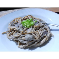 Quick and Dreamy Pasta Recipe - A tangy mix of sour cream, eggs, dill, Parmesan and mushrooms is stirred into hot angel hair pasta and brought to the edge of boiling before serving at its flavorful peak.