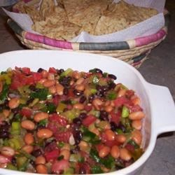 Three Bean Dip Recipe - This is a variation of the popular taco dip.  It tastes great and looks pretty too.
