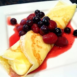 Dessert Crepes Recipe and Video - Essential crepe recipe.  Sprinkle warm crepes with sugar and lemon, or serve with cream or ice cream and fruit.