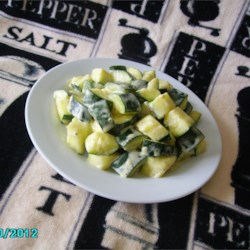 Cream Cheesy Cubed Zucchini with Lemon and Oregano
