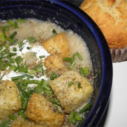 Amy Rose's Roasted Cauliflower Soup Recipe - Simple roasted cauliflower is simmered until tender in vegetable stock and pureed for a creamy texture without any cream or milk.