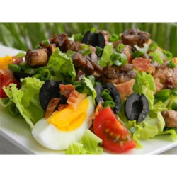 Marinated Chicken Salad Recipe - Balsamic-marinated sauteed chicken turns a mixed greens salad into a satisfying entree, perfect in the summer heat. Bacon, olives and hard-boiled egg add heartiness.