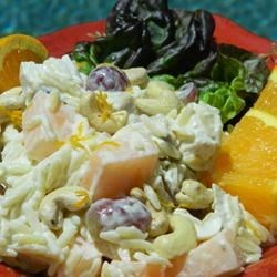 Chicken Orzo Salad Recipe - Like no other Chicken Salad you have ever had. Orzo pasta, chicken, cantaloupe and grapes are coated with a zesty citrus dressing, and topped with crunchy cashews.
