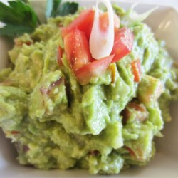Ellen's Addictive Guacamole Recipe - This tasty guacamole uses the traditional ingredients of avocados, onion, tomatoes, and lemon juice.