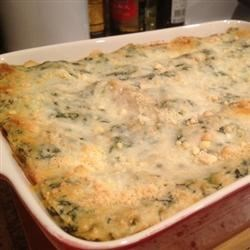 Chicken Lasagna with White Sauce Recipe - A delightful mixture of spinach, egg and ricotta cheese is layered with mozzarella cheese, cream of mushroom soup and succulent morsels of chicken to make a rich and satisfying baked lasagna.