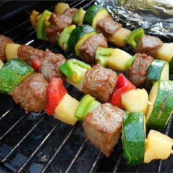 Beef Shish Kebabs for Freezer Cooking Recipe - Marinated beef cubes and fresh vegetables are portioned and frozen for later. When you're ready, thaw a few bags in the morning, and assemble the skewers while the grill is heating. You'll be home from work and eating dinner in no time!