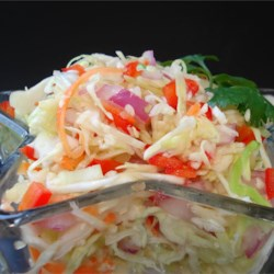 Angie's Dad's Best Cabbage Coleslaw Recipe - An absolutely delicious coleslaw, more tart and tangy than the creamy kind. It keeps well and can be made ahead of time.