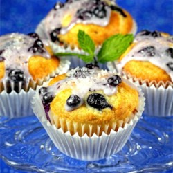 Blueberry Muffins with Wild Blueberry Glaze