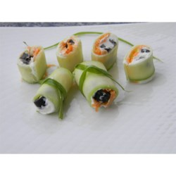 Mini Cucumber Sushi Rolls Recipe - Thin cucumber slices are rolled around shredded carrot, cream cheese, and raisins for a little sushi-shaped finger food that's tied with a fresh chive.