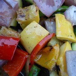 Grilled Vegetable Salad Recipe - Colorful grilled vegetables are tossed with a Dijon vinaigrette for the perfect summer side dish.