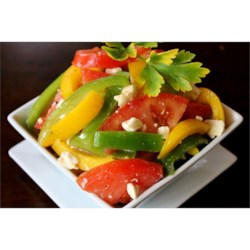 Tri-Color Pepper Slaw Recipe - A colorful toss of bell peppers, tomatoes, and vinaigrette -- great for the summer.