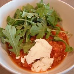 Lentil Soup with Goat Cheese and Arugula