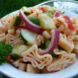 Sweet and Sour Pasta Salad Recipe - Sweet and sour sauce brings a new Asian-inspired twist to the traditional pasta salad. Serve with your favorite chicken, pork, or beef as a refreshing side dish.