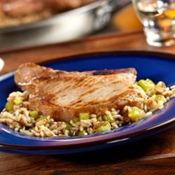 Pork Chops and French Onion Rice Recipe - Only one skillet is needed to make this scrumptious pork dish....the rice actually cooks right in the skillet with the rest of the ingredients.  It couldn't be easier.