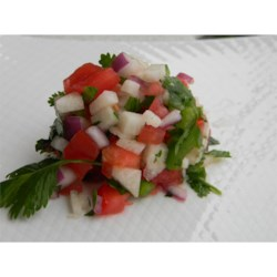 Miki's Jicama (Pico de Gallo Salsa) Recipe - This recipe yields a chunky, crisp, and delicious salsa-like version of pico de gallo.