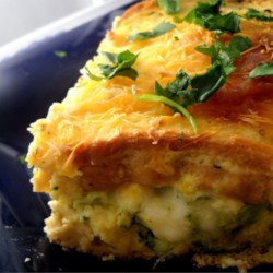 Broccoli Blue Cheese Strata Recipe - A hearty vegetarian breakfast or brunch casserole. I made it up in a pinch during a brunch party, and it was the only dish that was finished! I like to use a dense buttermilk bread for this recipe, and a thick blue cheese dressing.