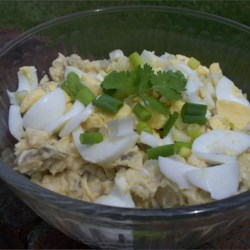 Wisconsin Cheese Curd Potato Salad Recipe - Potato salad, Wisconsin-style, is made with cheese curds. It would make a great side dish for brats.