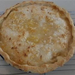 Shaker Lemon Pie Recipe -  Just three ingredients go into this tangy pie: lemons that are cut paper thin, sugar and four beaten eggs. The lemons are sugared and left to macerate overnight. When it 's time to assemble the pie, the eggs are combined with the sugared lemons to make the filling that is then poured in a prepared pie crust. Top it with another round of pastry, and the pie bakes until your kitchen smells heavenly.