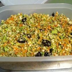 Raw Broccoli and Cauliflower Salad