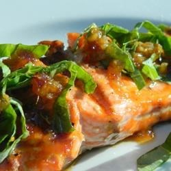 Fast Salmon with a Ginger Glaze Recipe - This super-fast, super-delicious garlic ginger basil glaze is the perfect accompaniment to your grilled salmon.