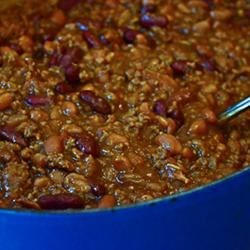 Ryan's Favorite Beans Recipe - Fix this big pot of beefy baked beans for your next potluck, or freeze the leftovers and enjoy them again and again!