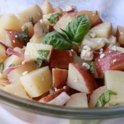 Picnic Potato Salad with No Mayonnaise Recipe - This mayonnaise-free potato salad has the added bonus of blue cheese and chives folded in at the end. It is a flavorful picnic food or side dish.