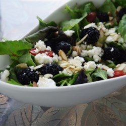 Blackberry Spinach Salad Recipe - Rich with color and texture, and boldly flavored with fresh blackberries and feta cheese, this salad is one of the most wonderful we have enjoyed!