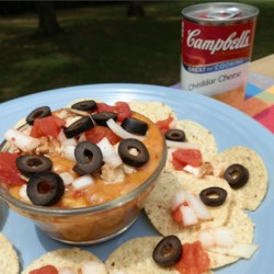 Chicken Nachos from Campbell's Kitchen Recipe - Got the munchies?  Here's a solution . . . cheesy chicken nachos that use canned chicken and prepared salsa so they're ready in just 15 minutes.
