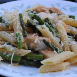 Chicken and Asparagus with Penne Pasta Recipe - Tender asparagus and chunks of chicken combine with penne pasta in a simple, light, and satisfying main dish.