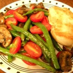 Tweaked Green Beans and Tomatoes with chicken and mushrooms