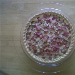 Rhubarb Pie - Single Crust Recipe - Take advantage of early summer's bounty of fresh rhubarb with an easy open-face rhubarb pie that needs just five ingredients and a pie crust.