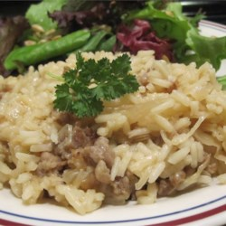 German Rice Recipe - This delicious rice skillet has German-inspired flavors of bratwurst, sauerkraut, and fennel seeds. It's a deliciously different take on a rice main dish.