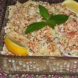 Shrimp and Crab Macaroni Salad Recipe - A cold shrimp and crab salad with pasta, celery, onion, and green pepper. Imitation crabmeat also works well in place of real crab. Can also be made with salmon or tuna in place of shrimp and crab.