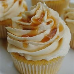 Almond Cupcake with Salted Caramel Buttercream Frosting Recipe - Delicious from-scratch almond-vanilla cupcakes have a salted caramel buttercream frosting. That little hint of salt really brings out the flavors.