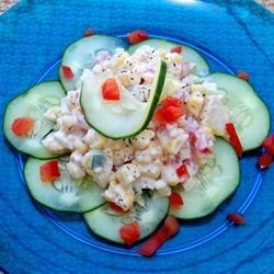 Corn Salad II Recipe - This creamy corn, cucumber, onion and tomato salad can be prepared in 15 minutes.