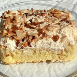 G's Tres Leches Cake Recipe - A dense yet light tres leches (three milks) cake is topped with sweetened whipped cream. Serve this ultra-moist dessert well chilled; in fact, it's better after a day or so in the refrigerator.