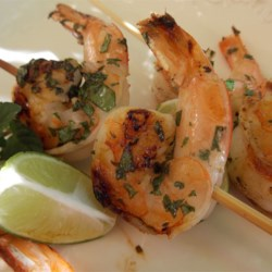 'But Why Is The Rum Gone?' Grilled Shrimp Recipe - Shrimp is marinated a mixture with lime juice, mint, shallot, and rum in this grilled shrimp recipe.