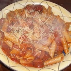 Penne con Sauccia Recipe - This pork sausage and penne pasta dish is delicious either mild or spicy hot -- you decide!