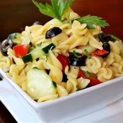 Easy Cold Pasta Salad Recipe - A quick and easy cold pasta salad with tomatoes, cucumbers, black olives, and a tangy Italian dressing.