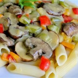 Mushroom Sauce Recipe - Mushrooms and bell peppers, sauteed with onions and butter until perfectly tender, are stirred with cream of chicken soup and a bit of milk, then cooked until the flavors meld. Use this sauce layered in lasagna or tossed with hot pasta.