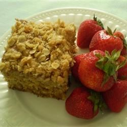 Banana Crunch Cake Recipe - Banana cake with yummy, crunchy topping. The recipe calls for oat flour, which can be made by grinding 1 1/4 cup rolled oats in the blender.