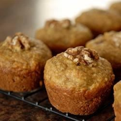 Sarah's Banana Bread Muffins Recipe - This is a simple banana nut muffin recipe with a yummy little twist: a wee sprinkling of coconut in the batter.