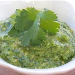 Cilantro Chili-Lime Cashew Pesto Recipe - Cilantro, parsley, chili-lime cashews, and lime juice are blended together in this spicy version of a classic pesto sauce.