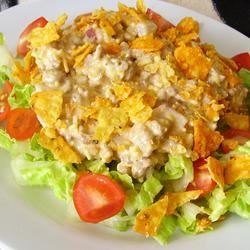Easy Dorito(R) Taco Salad Recipe - A salad with the delicious flavor of a popular nacho cheese taco from a fast food chain is easy to make, and the kids will love it.